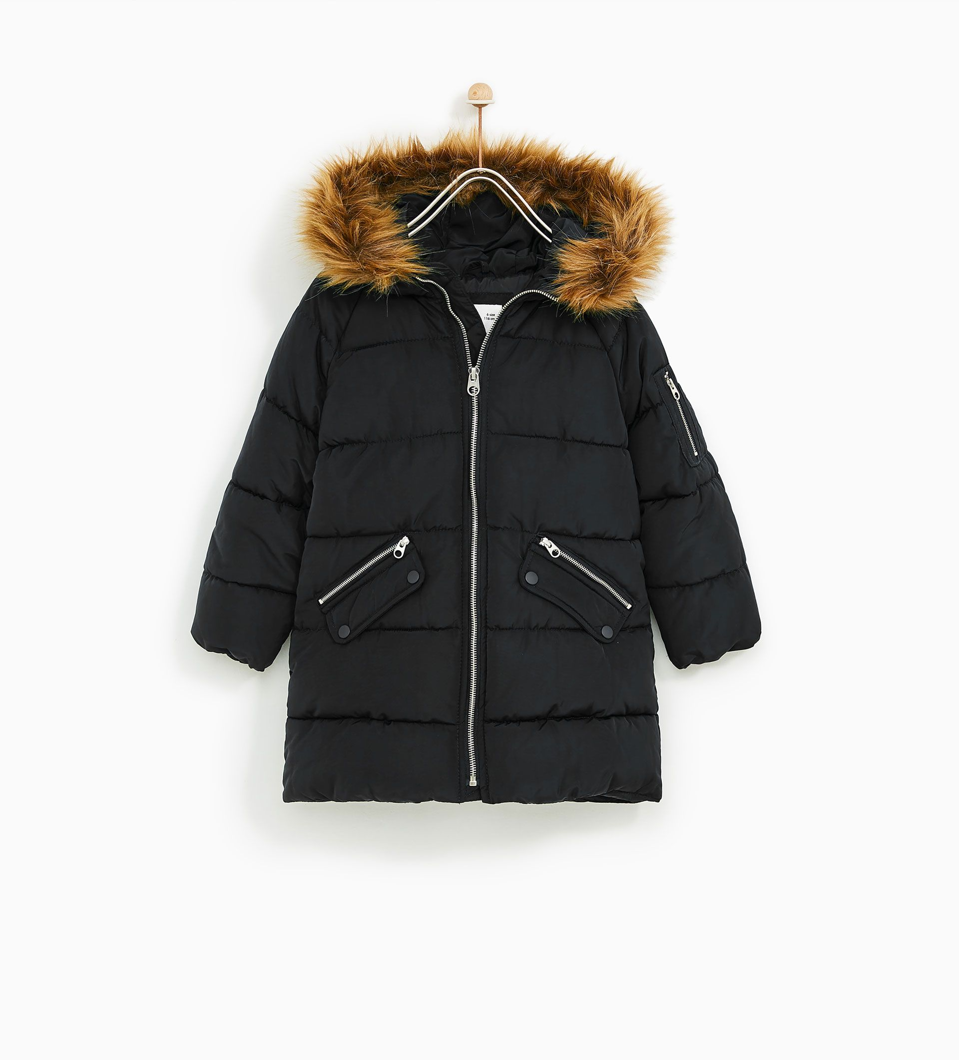Hood Puffer Kids Zara Coat With Faux Fur d5YxwxqB