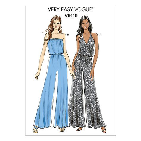 Vogue Very Easy Women\'s Jumpsuit Sewing Pattern, 9116 | Sewing ...