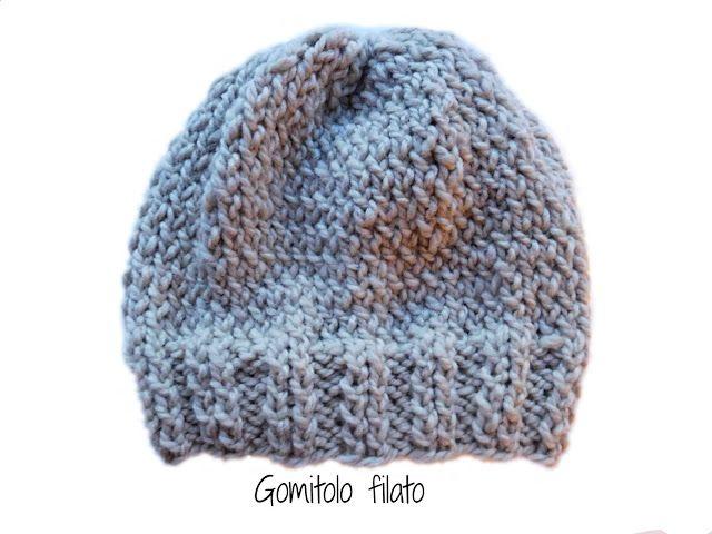 Gomitolo filato  Cappello semplice ai ferri- Tutorial  c864a9d1531a