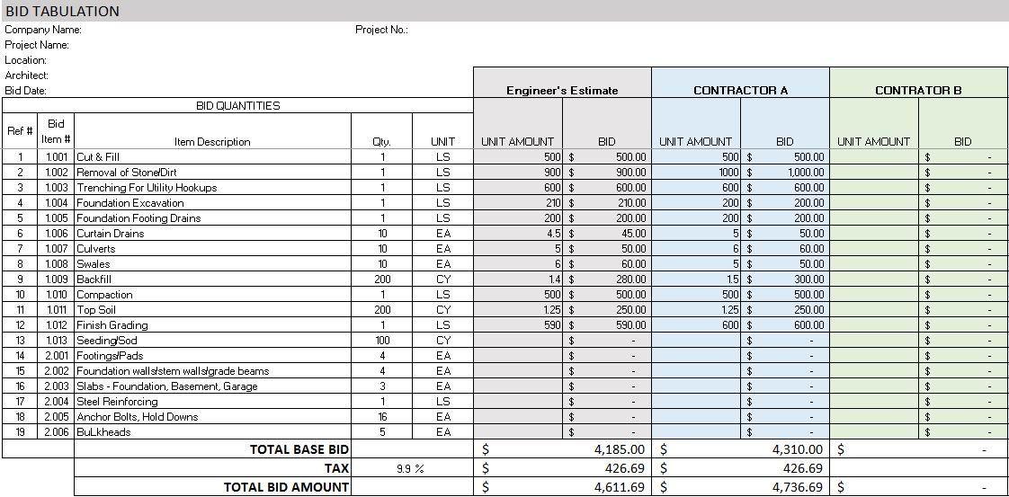 Excel Construction Management Templates Estimate Template
