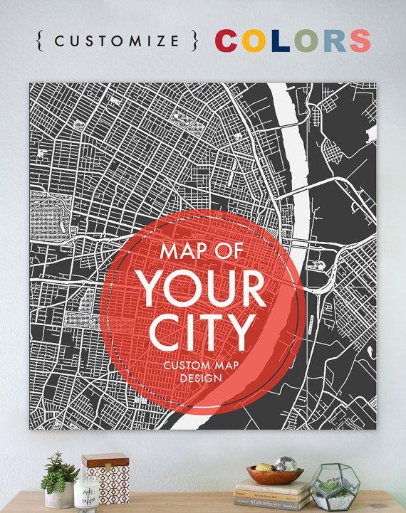 custom map print custom city map print personalized map art