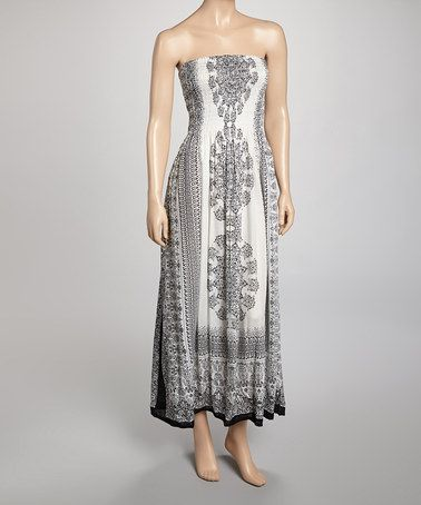 896363c34423 Take a look at this Black & White Strapless Maxi Dress by India Boutique on  #zulily today! $19.99, regular 100.00