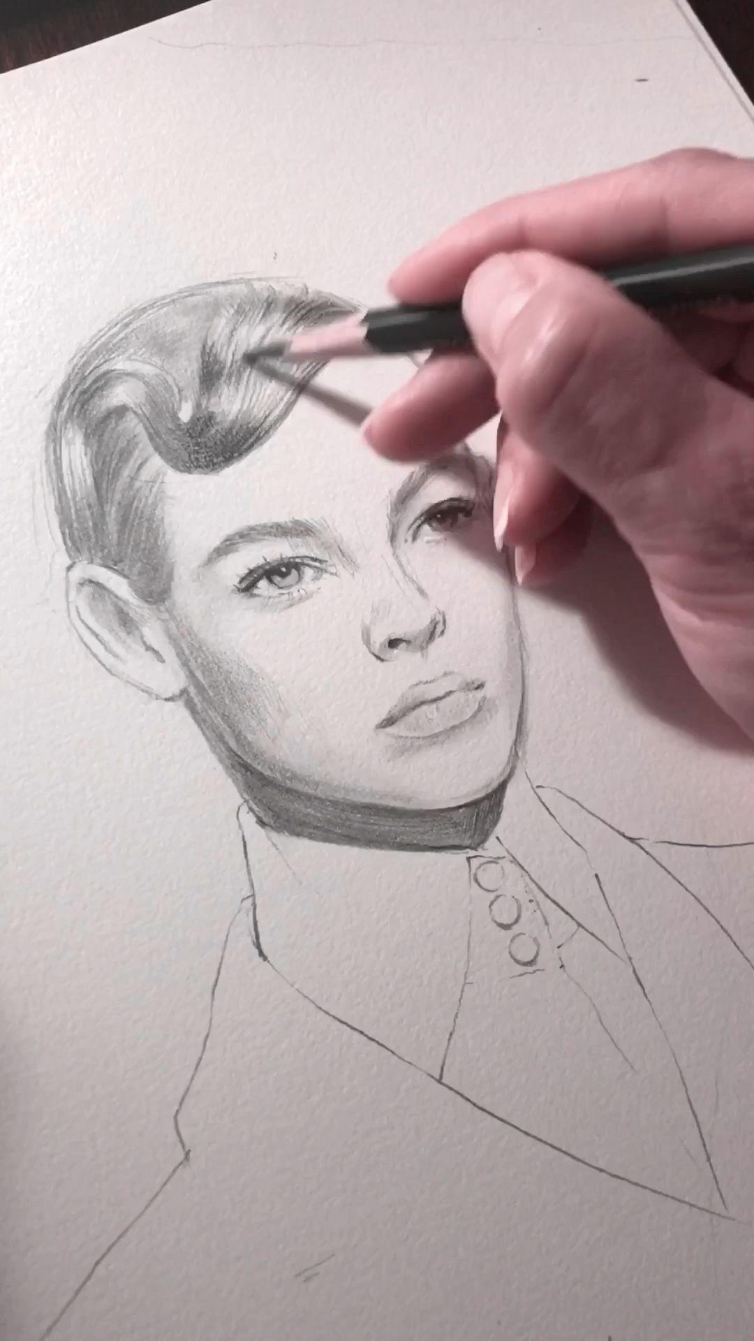 Photo of Free hand pencil sketching. Fashion illustration. Fendi Fall 2019 Ready-to-Wear