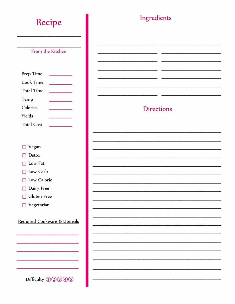 Template Recipe Dalep Midnightpig Co Within Restaurant Recipe Card Template Best Professional Recipe Book Templates Cookbook Template Recipe Cards Template