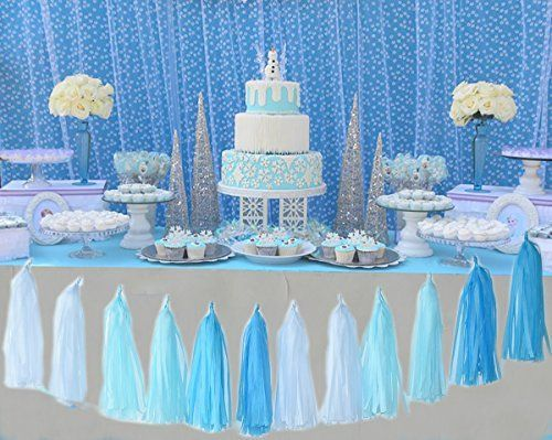 Baby Blue White Turquoise Blue Tissue Paper Pom Poms Snow Theme Party Deco Frozen Themed Birthday Party Frozen Birthday Party Supplies Frozen Party Decorations