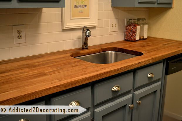 My Ikea Butcher Block Countertops Refinish Kitchen Remodel Small