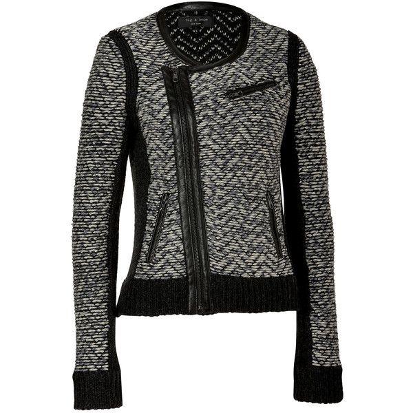 RAG & BONE Light Grey Samantha Biker Jacket ($388) ❤ liked on Polyvore