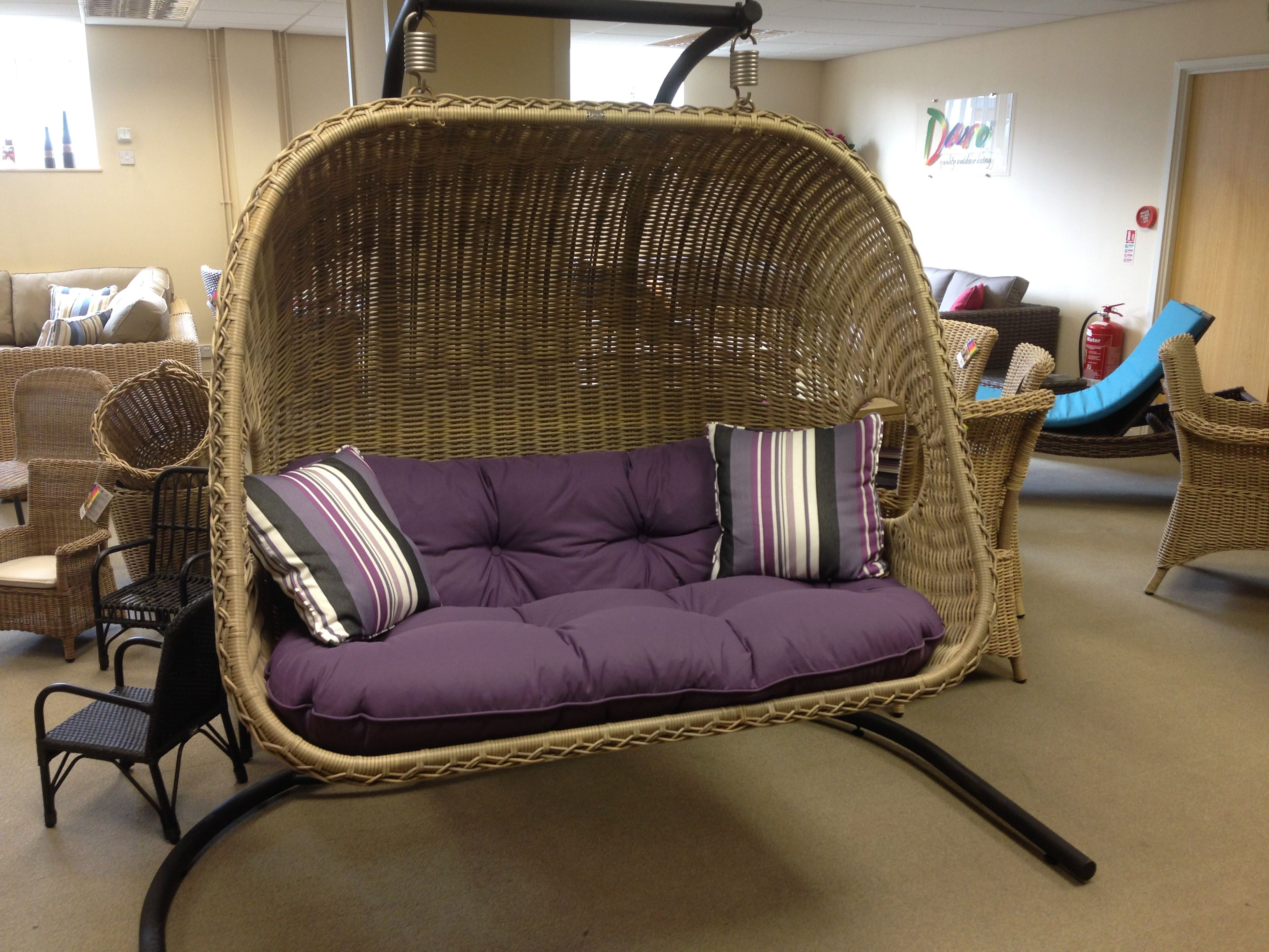 Double Hanging Chair Outdoor Or Indoor Luxury All Weather Rattan By
