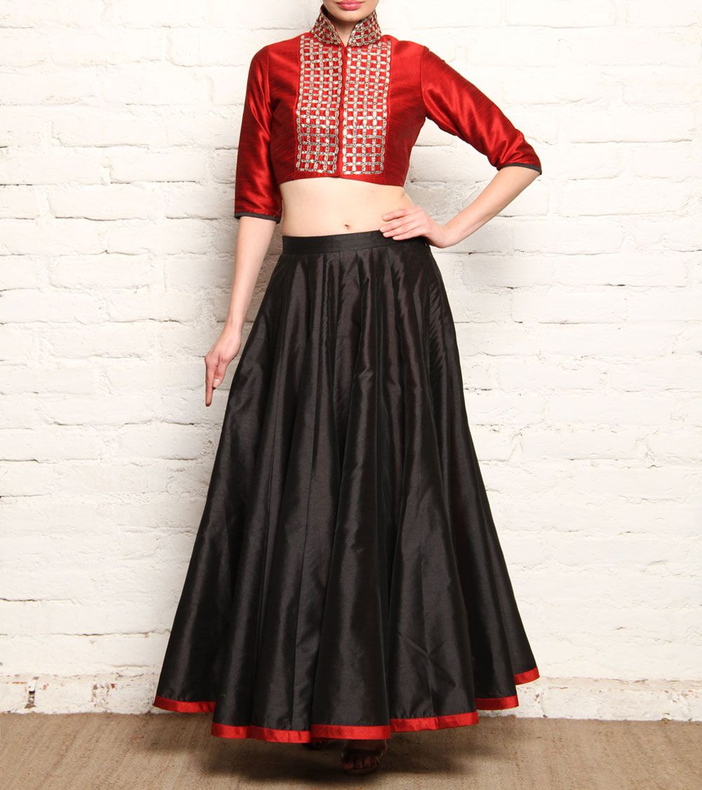 00f8a9ca1cbddd #Red & #Black Raw Silk #Skirt & Crop #Top With Gota Patti at #Indianroots