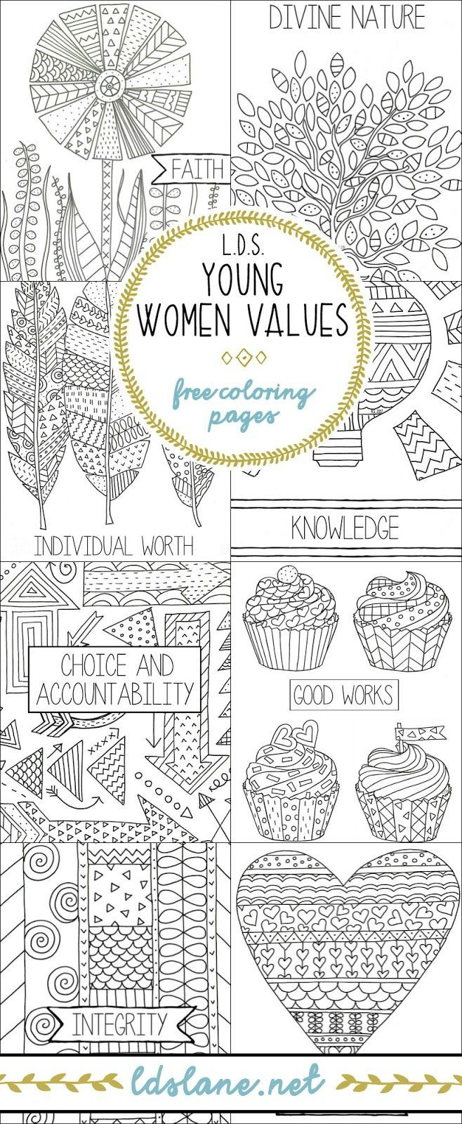 LDS Young Women Values Coloring Pages - ldslane.net | Young women ...