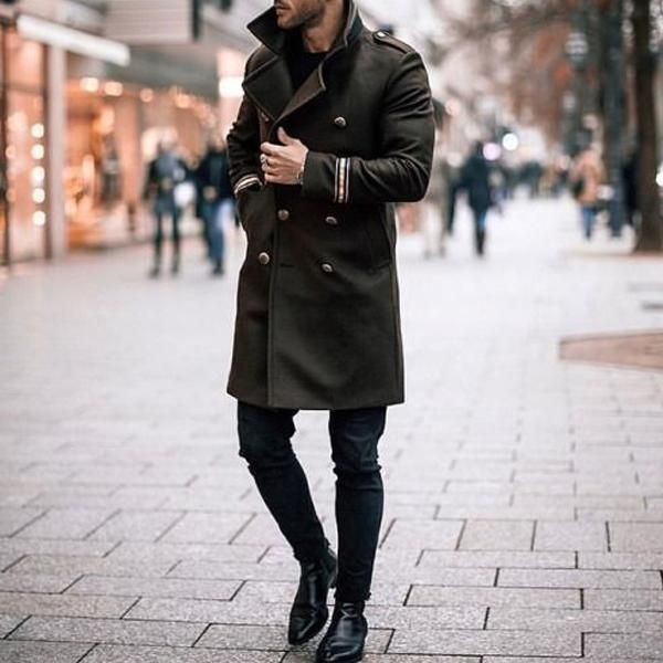 Mens Winter Wool Wool Coat Mens Double Breasted Jacket