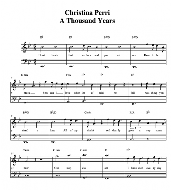1000 Years Piano Sheet Music Carnavalsmusic
