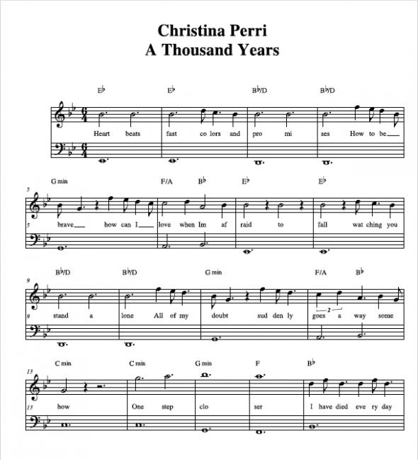 Grenade Free Piano Sheet Music With Lyrics: Christina Perri A Thousand Years Sheet Music
