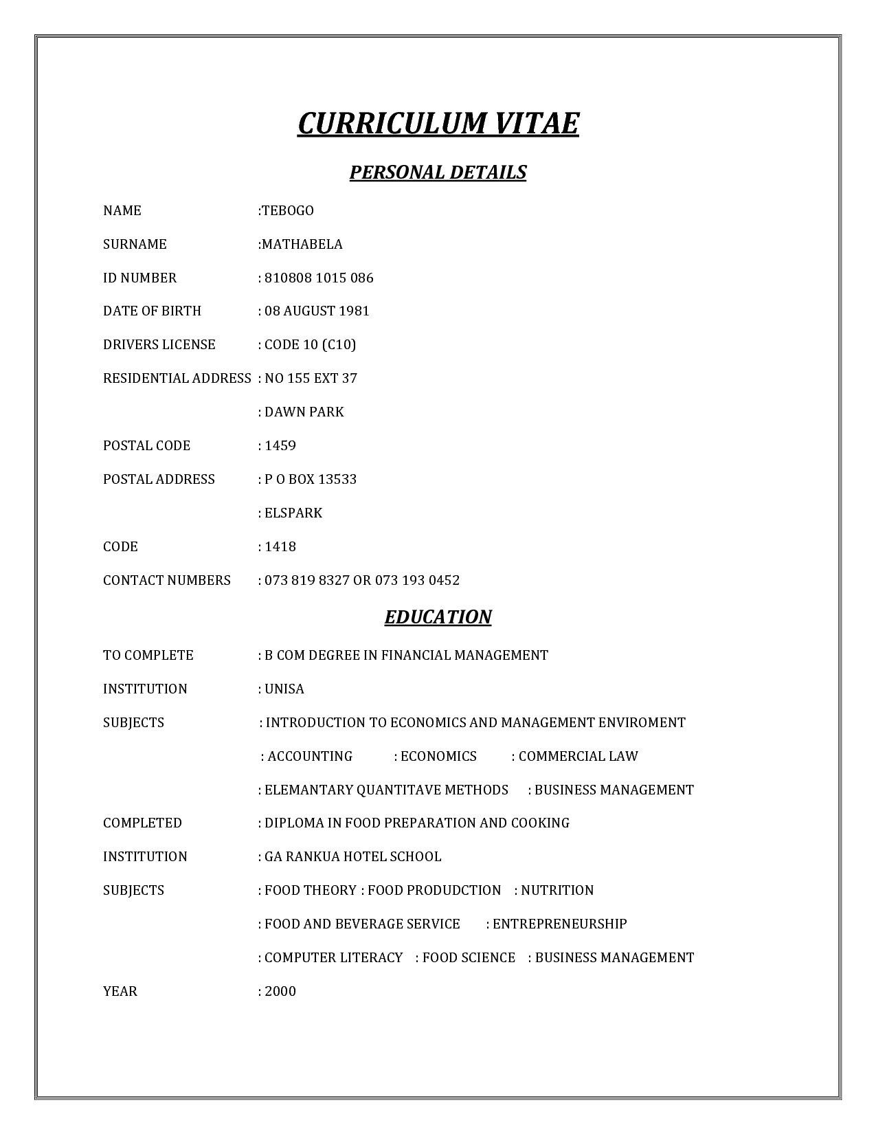 Cv Template Za (With images) Cv template, Curriculum