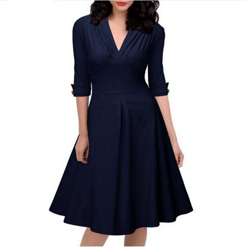 Women Retro Pleated Dresses Audrey Hepburn 50s Draped Plus Size Vintage  Dresses Summer 3/4