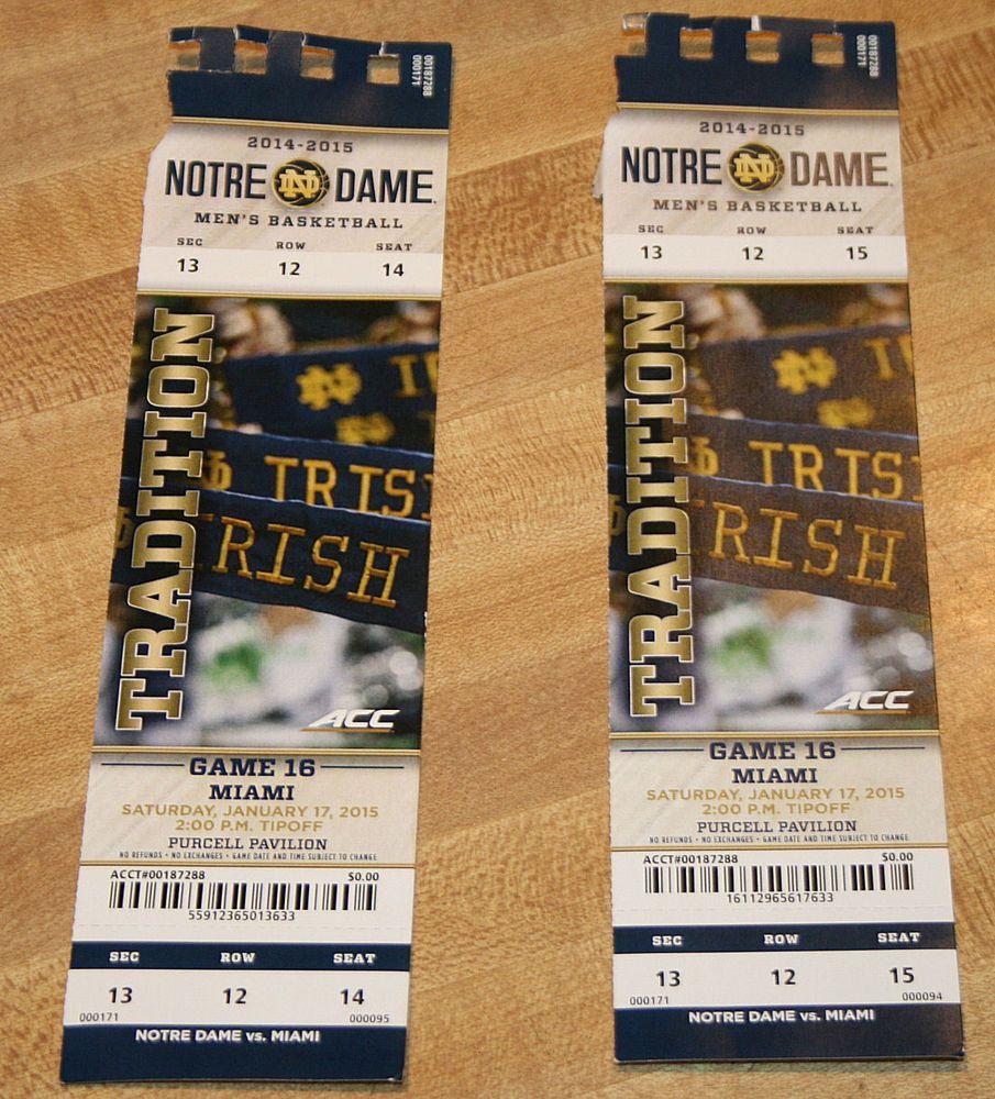 Notre Dame Vs Miami Hurricanes Basketball Game Ticket Stubs 2 1