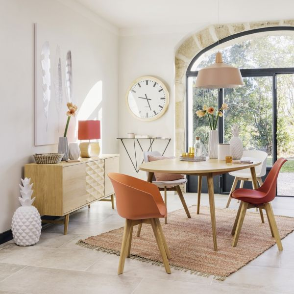 White Scandinavian Chair With Solid Oak Bright Dining Rooms