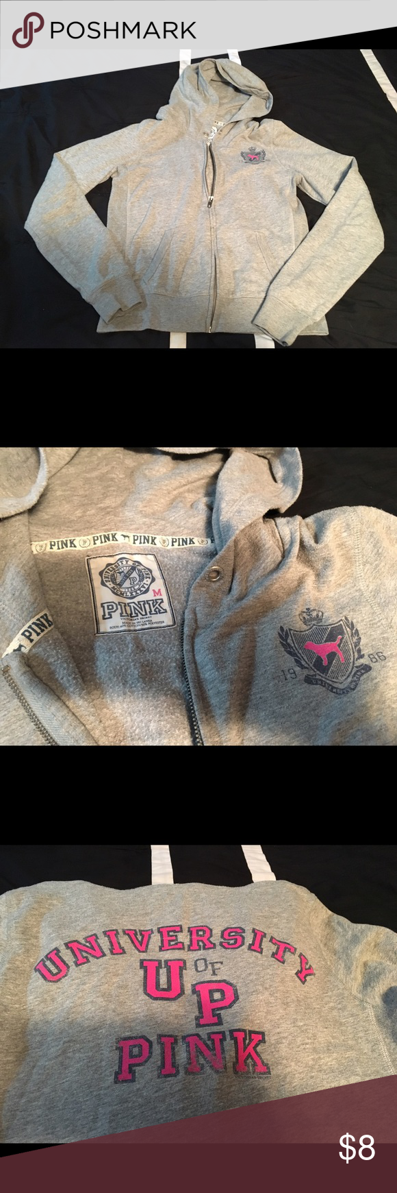 Victoria's Secret PINK Gray University Full Zip Preowned for many years, shows signs of wear: fading/cracking of letters, piling and a small bleach stain (pic 4) on the arm. Please note that the hoodie string is gone also. Fits true to size, zipper is still fully functional & no holes PINK Victoria's Secret Tops Sweatshirts & Hoodies
