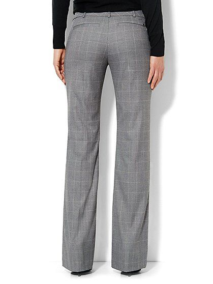 35ca51cb76a 7th Avenue Bootcut Pant - Windowpane - Grey - Tall - New York & Company