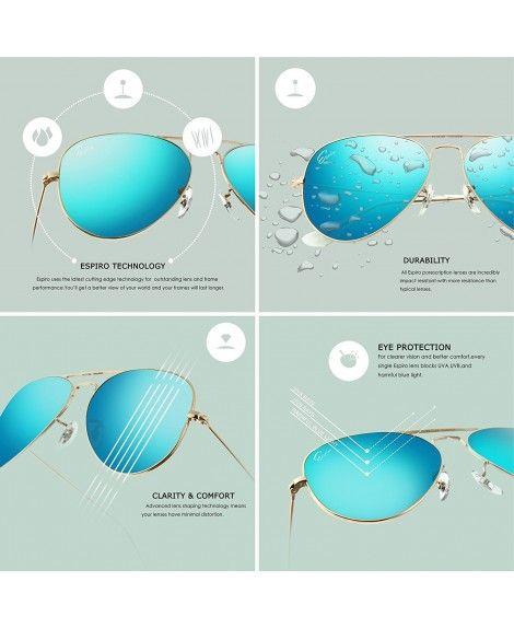 3abc32b342 Premium Mirrored Aviator Sunglasses Protection - Gold Frame Ice Blue ...