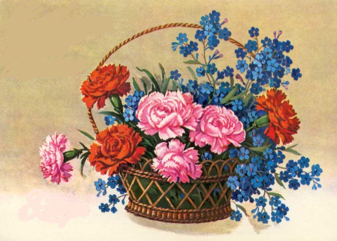 Старые открытки к 8 марта цветы