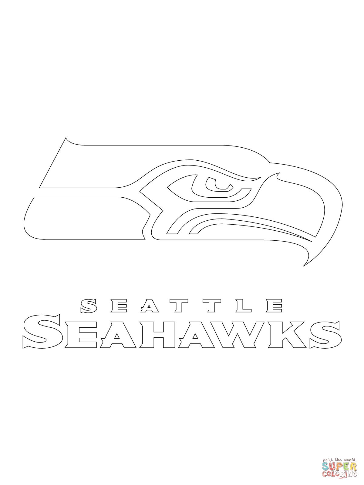 Seattle Seahawks Logo Coloring Page Supercoloring Com Seattle Seahawks Seattle Seahawks Logo Football Coloring Pages