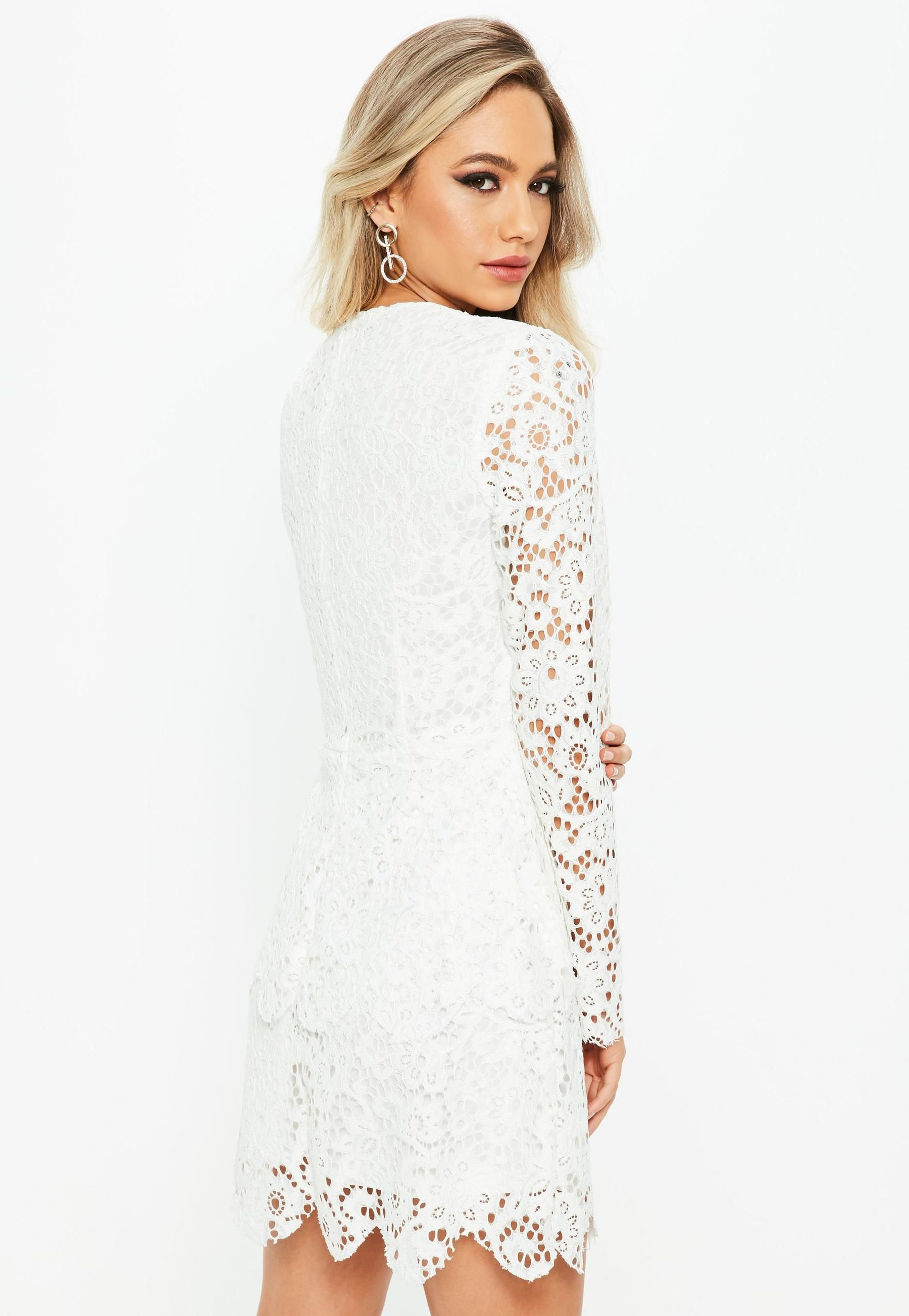 White Lace Long Sleeve Double Layer Skater Dress Missguided Dresses Trending Dresses Long Sleeve Gown [ 2607 x 1800 Pixel ]