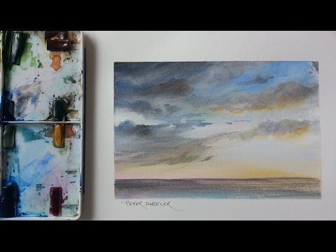 How To Paint A Sunset Storm Clouds Mood Sky Tutorial By Peter