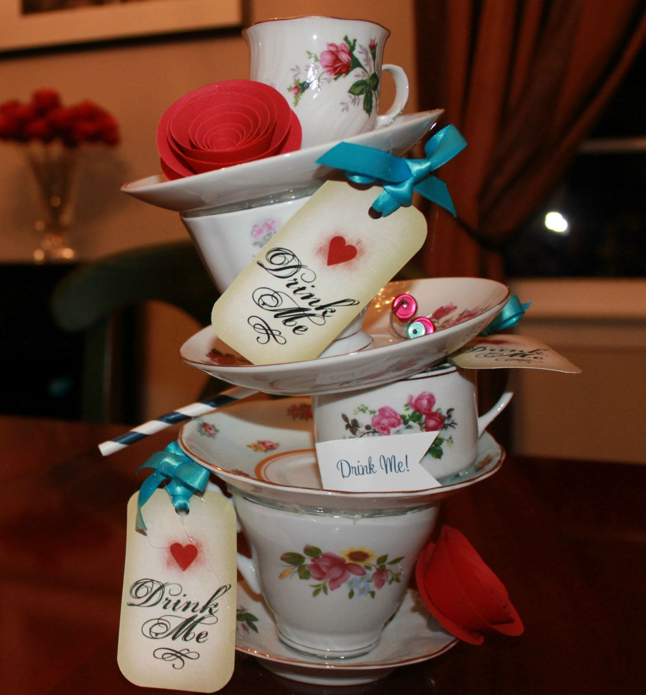 Alice in wonderland tea party wedding centerpiece baby for Alice in wonderland tea party decoration ideas