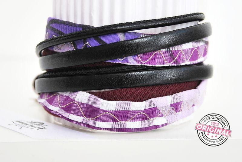 Wickelarmband Stoff Leder Mix