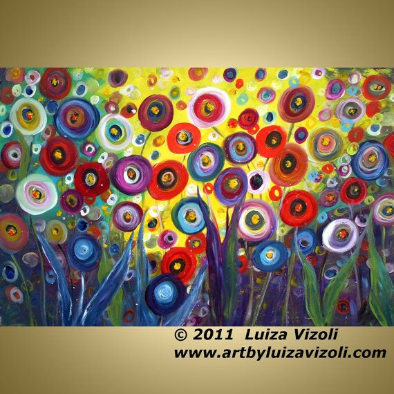 DANCING POPPIES Original Large Colorful Fantasy by LUIZAVIZOLI