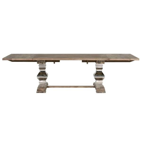 Andy Distressed Grey/Cappuccino Wood And Stainless Steel Extension Dining  Table