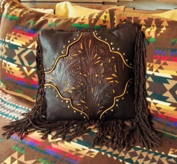Western Pillow Yummy Fringe Fancy Leather Pillow
