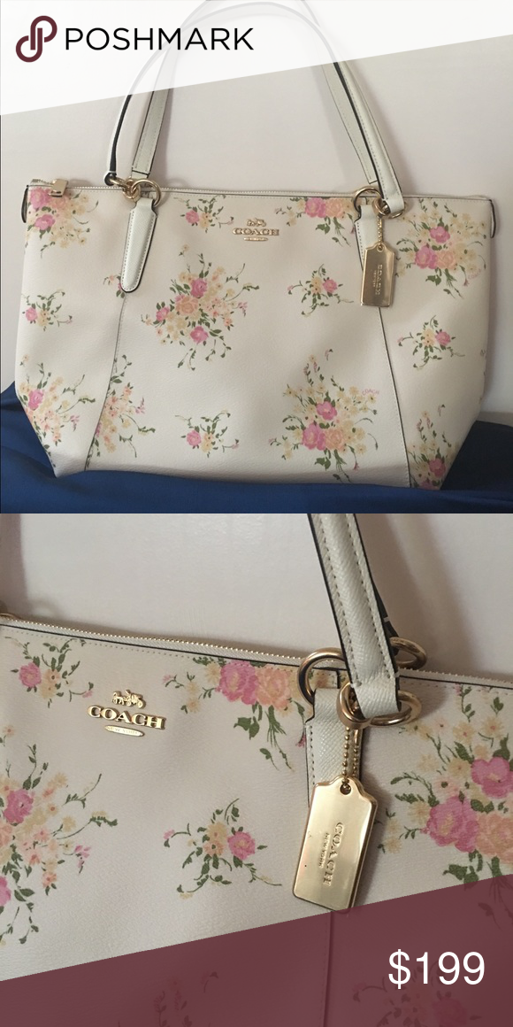 Coach Ava Tote With Floral Print Nwt Gorgeous Practical