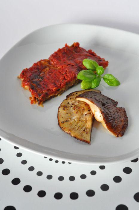 Melanzane alla Parmigiana with Marinated Shitake Mushrooms