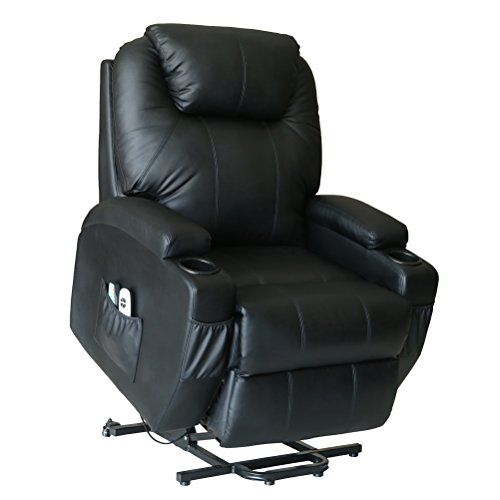 Action Club Deluxe Wall Hugger Power Lift Heated Vibrating Massage Recliner  Chair With Wheels   Black