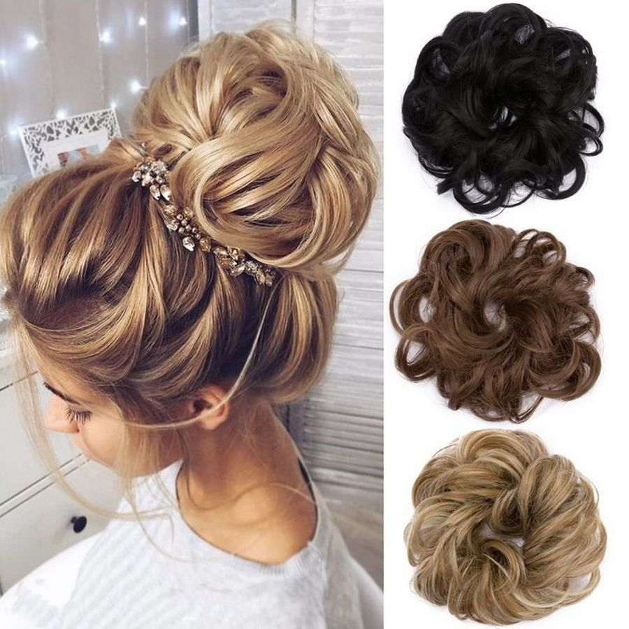 Messy Bun Hair Extensions Hair Piece Bun Pony Scrunchie Wavy Curly Wrap Long Uk Extensions Piece Pony Bun Hair Piece Hair Styles Synthetic Curly Hair