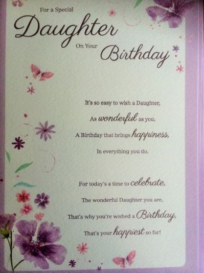 Daughter Birthday CardLoving Poems For Verses Happy