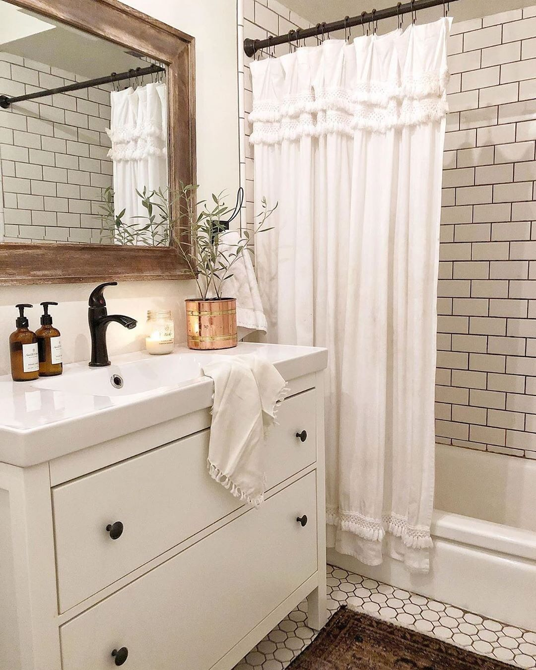 """Photo of Farmhouse Fanatics on Instagram: """"What's better than 1 dose of bathroom inspo? 🤔 How about a double dose?! 😜 (📸 @designsbyashleyknie) — I am loving all of the pretty tiles…"""""""