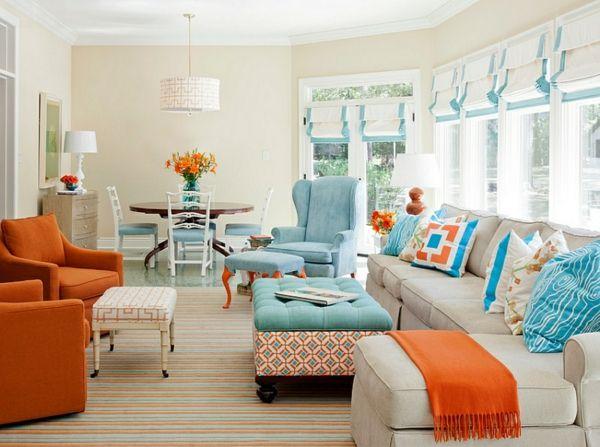 Farbkombination wandfarbe schlafzimmer orange sofa polsterung - schlafzimmer orange