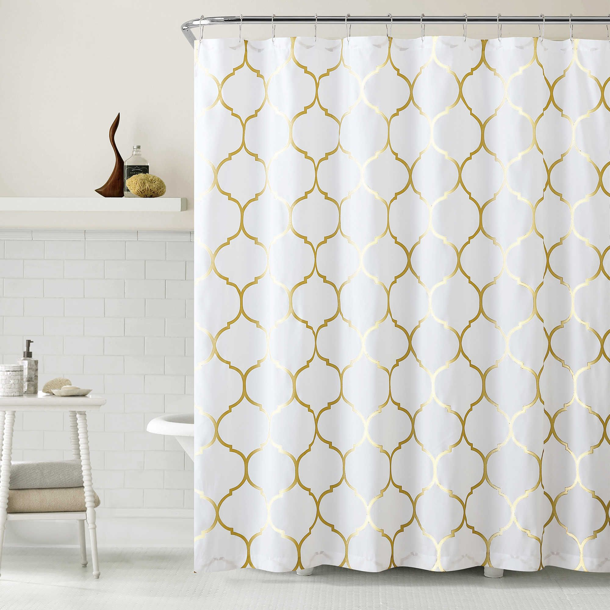 Vcny Metallic Ogee Shower Curtain In Goldwhite Decorating