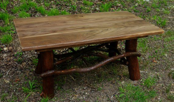 Rustic Coffee Table Handmade Log Cabin Furniture Real Black Walnut Top Cottage Decor Primitive Fu