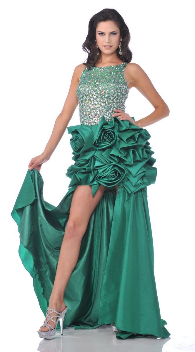 Sparkly Jewels Green Sexy Prom Dress Removable Train Low Back ...