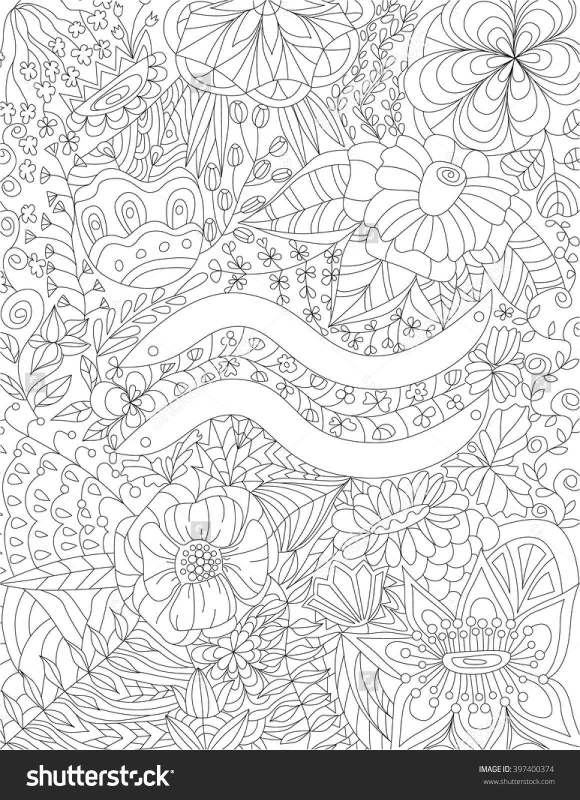 Zodiac sign aquarius floral geometric doodle pattern coloring page