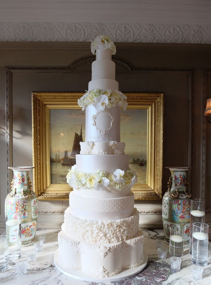 This 5 Foot Luxury wedding cake with custom cake monogram from Little Button Bakery has some serious wow