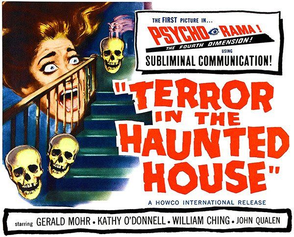 Terror in the haunted house 1958 movie poster horror movie and vintage horror for Classic haunted house movies