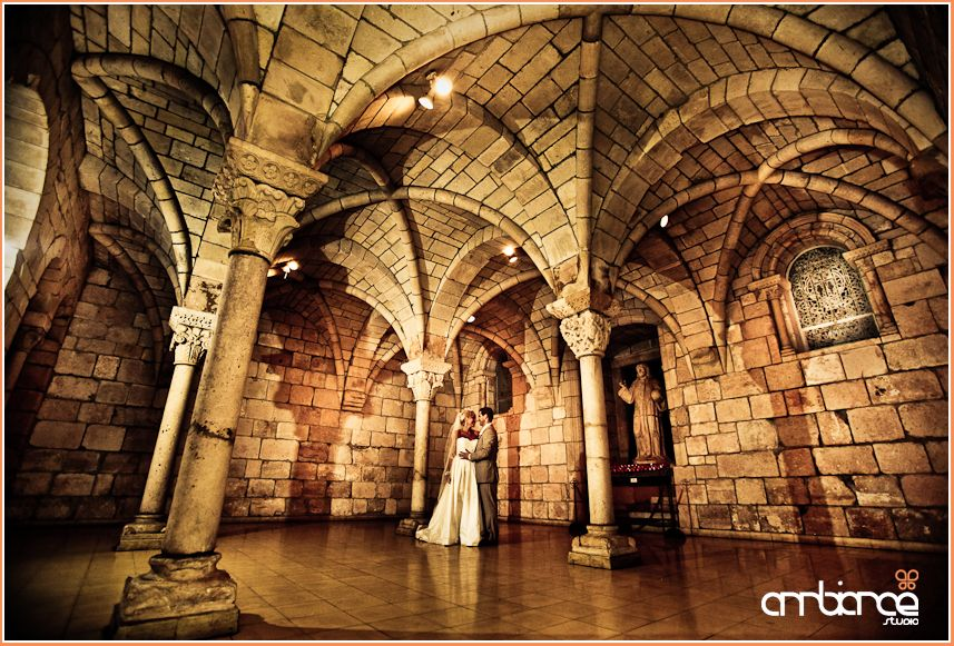 Ancient Spanish Monastery Wedding Portraits Highceilings Architecture