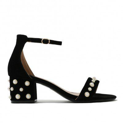 67d5520edb4 Bromley Pearl Detail Low Block Heels in Black Faux Suede | Fashion ...