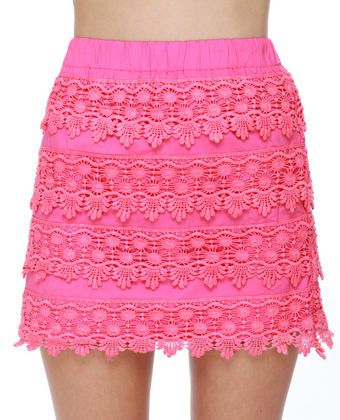 904276c616 Parade-y Bunch Hot Pink Lace Mini Skirt   My Style   Mini skirts ...