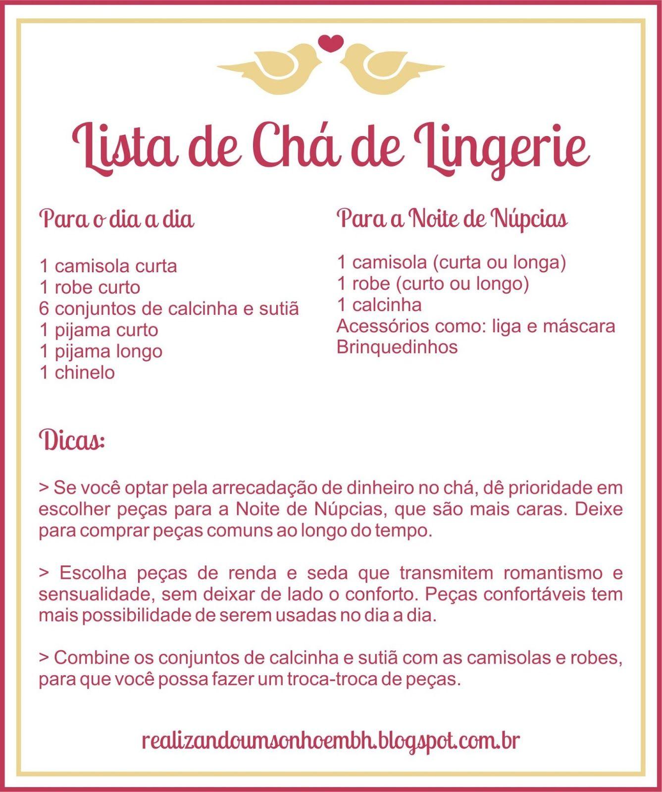 Lista Ch De Lingerie Jpg 1337 1600 Casamento Pinterest ~ Lista Chá De Cozinha Pronta
